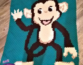 Chimp Afghan, C2C Crochet Pattern, Written Row by Row, Color Counts, Instant Download, C2C Graph, C2C Pattern, Graphgan Pattern