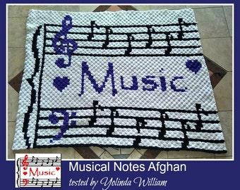Musical Notes Afghan, C2C Crochet Pattern, Written Row Counts, C2C Graphs, Corner to Corner, Crochet Pattern, C2C Graph