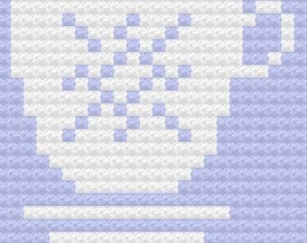 Teacup 3 Pillow, C2C Crochet Pattern, Written Row by Row, Color Counts, Instant Download, C2C Graph, C2C Pattern, Crochet Pillow