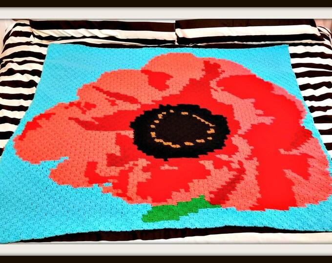 Featured listing image: Poppy Afghan Crochet Pattern, C2C Crochet