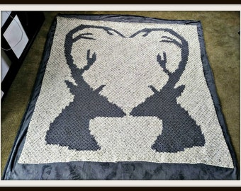 Deer Love Afghan, C2C Crochet Pattern, Written Row Counts, C2C Graphs, Corner to Corner, Crochet Pattern, C2C Graph
