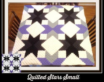 Quilted Stars Small Afghan, C2C Crochet Pattern, Written Row Counts, C2C Graphs, Corner to Corner, Crochet Pattern, C2C Graph