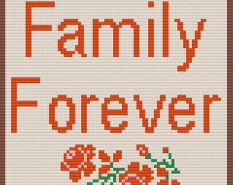 Family Forever Afghan, C2C Crochet Pattern, Written Row by Row, Color Counts, Instant Download, C2C Graph, C2C Pattern, Graphgan Pattern