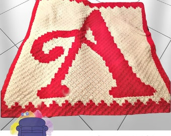 Letter A Swirly Kids Afghan, C2C Crochet Pattern, Written Row by Row, Color Counts, Instant Download, C2C Graph, C2C Pattern, Graphgan