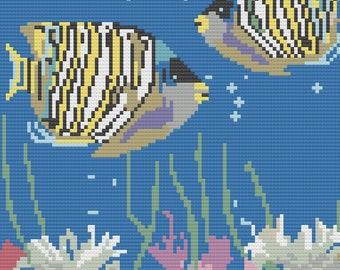 Fish in Aquarium Afghan, C2C Crochet Pattern, Written Row by Row, Color Counts, Instant Download, C2C Graph, C2C Pattern, C2C Graphgan