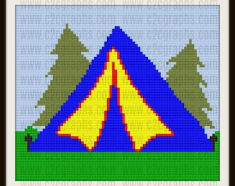 Tent Afghan, C2C Crochet Pattern, Written Row Counts, C2C Graphs, Corner to Corner, Crochet Pattern, C2C Graph