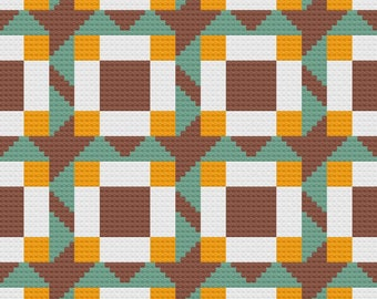 Roberta 75x75 Quilt Afghan C2C Crochet Pattern, Written Row by Row Counts, C2C Graphs, Corner to Corner Crochet Pattern, Graphgan, C2C Graph