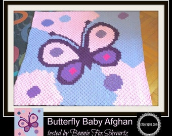 Baby Butterfly, C2C Crochet Pattern, Written Row Counts, C2C Graphs, Corner to Corner, Crochet Pattern, C2C Graph