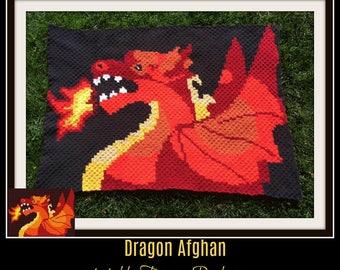 Dragon Afghan, C2C Crochet, Graph, & Written Word Chart