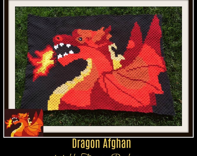 Featured listing image: Dragon Afghan, C2C Crochet Pattern, Written Row Counts, C2C Graphs, Corner to Corner, Crochet Pattern, C2C Graph