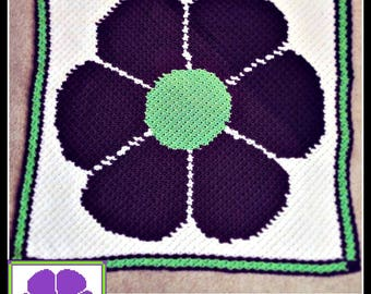 Flower Power Afghan, C2C Crochet Pattern, Written Row Counts, C2C Graphs, Corner to Corner, Crochet Pattern, C2C Graph