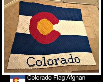 Colorado Flag Afghan, C2C Crochet Pattern, Written Row Counts, C2C Graphs, Corner to Corner, Crochet Pattern, C2C Graph