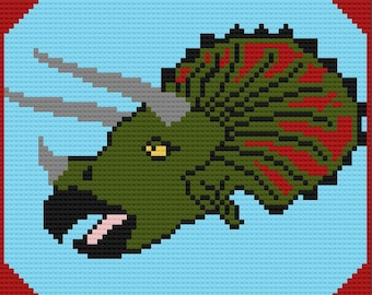 Triceratops Afghan, C2C Crochet Pattern, Written Row by Row, Color Counts, Instant Download, C2C Graph, C2C Pattern, Graphgan Pattern