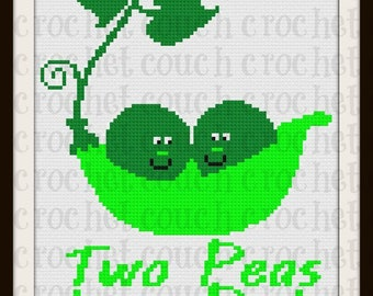 Two Peas in a Pod Afghan, C2C Crochet Pattern, Written Row Counts, C2C Graphs, Corner to Corner, Crochet Pattern, C2C Graph