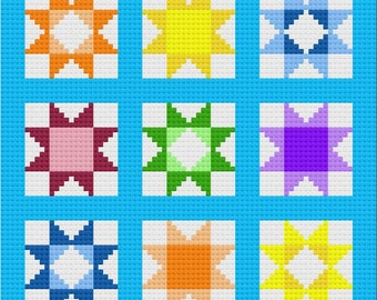 Star Stash Buster Afghan C2C Crochet Pattern, Written Row by Row Counts, C2C Graphs, Corner to Corner Crochet Pattern, Graphgan, Quilt C2C