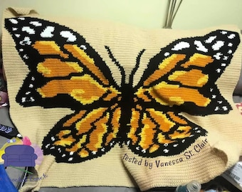 Butterfly Monarch Afghan, sc Crochet Pattern, tss Crochet Pattern, Written Row by Row, Color Counts, Instant Download, sc Graph, tss Graph