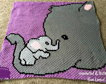 Elephant Holding Baby Afghan, C2C Crochet Pattern, Written Row by Row, Color Counts, Instant Download, C2C Graph, C2C Pattern, Graphgan