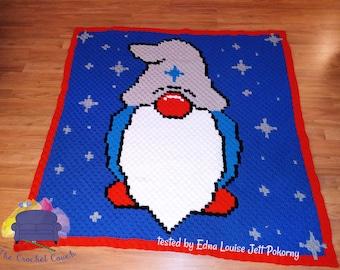 Starry Gnome Afghan, C2C Crochet Pattern, Written Row by Row, Color Counts, Instant Download, C2C Graph, C2C Pattern, C2C Crochet, Graphgan
