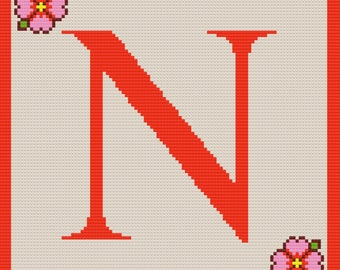 Letter N Flower Afghan, C2C Crochet Pattern, Written Row by Row, Color Counts, Instant Download, C2C Graph, C2C Pattern, Graphgan Pattern