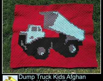 Dump truck Kids Afghan, C2C Crochet Pattern, Written Row Counts, C2C Graphs, Corner to Corner, Crochet Pattern, C2C Graph