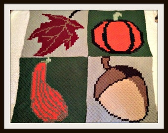 Autumn Squares Afghan C2C Crochet Pattern, Written Row by Row Counts, C2C Graphs, Corner to Corner Crochet Pattern, Graphgan, Autumn C2C