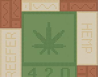 Marijuana Afghan, Bobble Stitch Crochet Pattern, Written Row by Row, Color Counts, Instant Download, Graphgan Pattern, Graphgan