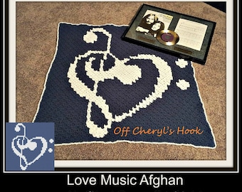 Love Music Afghan in Navy and White, C2C Crochet Pattern, Written Row Counts, C2C Graphs, Corner to Corner, Crochet Pattern, C2C Graph