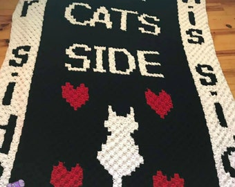 Cats Side Afghan, C2C Crochet Pattern, Written Row by Row, Color Counts, Instant Download, C2C Graph, C2C Pattern, Graphgan Pattern