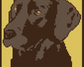 Chocolate Lab Afghan, C2C Crochet Pattern, Corner to Corner Crochet