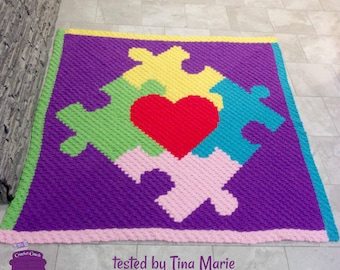 Puzzle Heart Center Afghan, C2C Crochet Pattern, Written Row by Row, Color Counts, Instant Download, C2C Graph, C2C Pattern, Graphgan