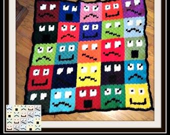 Funny Faces Afghan, C2C Crochet Pattern, Written Row Counts, C2C Graphs, Corner to Corner, Crochet Pattern, C2C Graph