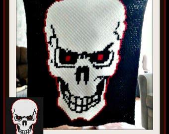 Skull Red Eyes Afghan, C2C Crochet Pattern, Written Row Counts, C2C Graphs, Corner to Corner, Crochet Pattern, C2C Graph