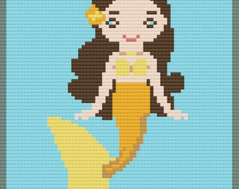 Mermaid Girl Afghan, C2C Crochet Pattern, Written Row by Row, Color Counts, Instant Download, C2C Graph, C2C Pattern, Graphgan Pattern