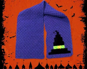 Witch Hat Scarf C2C Crochet Pattern, Written Row Counts, C2C Graphs, Corner to Corner Crochet Pattern, Halloween Scarf