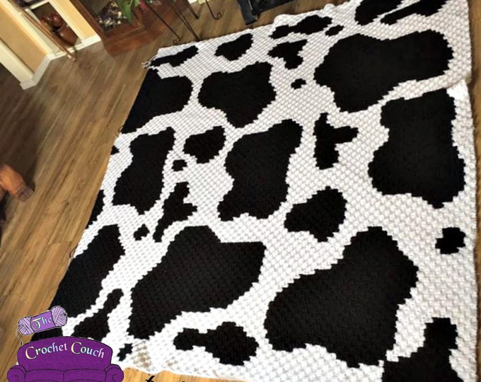 Featured listing image: Cow Print, LARGER SIZE, Afghan, C2C Crochet Pattern, Written Row Counts, C2C Graphs, Corner to Corner, Crochet Pattern, C2C Graph