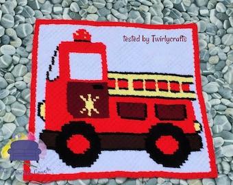 Firetruck Kids Afghan, C2C Crochet Pattern, Written Row Counts, C2C Graphs, Corner to Corner, Crochet Pattern, C2C Graph