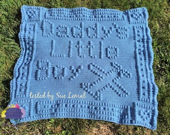 Daddy's Little Boy Baby Afghan, Bobble Stitch Crochet Pattern, Written Row by Row, Color Counts, Instant Download, Graphgan Pattern