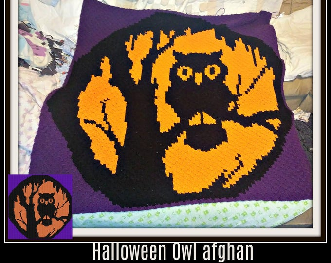 Featured listing image: Halloween Owl Afghan, C2C Graph, Written Word Chart, Crochet Pattern, Owl C2C Graph, Halloween C2C Graph, Owl corner to corner