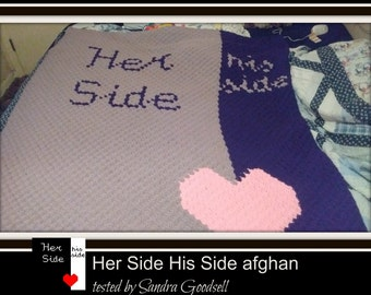 Her Side His Side Afghan, C2C Crochet Pattern, Written Row Counts, C2C Graphs, Corner to Corner, Crochet Pattern, C2C Graph