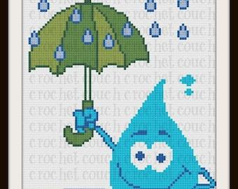 Raindrop Twin Afghan, C2C Crochet Pattern, Written Row Counts, C2C Graphs, Corner to Corner, Crochet Pattern, C2C Graph