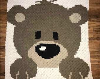 Baby Bear in Brown Blanket, C2C Crochet Pattern, Written Row Counts, C2C Graphs, Corner to Corner, Crochet Pattern, C2C Graph