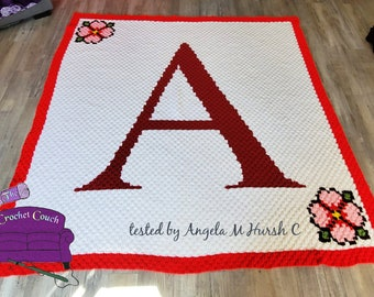 Letter A Flower Afghan, C2C Crochet Pattern, Written Row by Row, Color Counts, Instant Download, C2C Graph, C2C Pattern, Graphgan Pattern