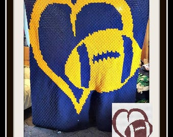 Love Football Afghan, C2C Graph, Crochet Pattern, Football Graph, Football crochet pattern