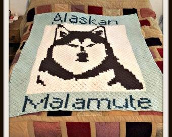 Alaskan Malamute Afghan C2C Crochet Pattern, Written Row by Row Counts, C2C Graphs, Corner to Corner Crochet Pattern, Graphgan