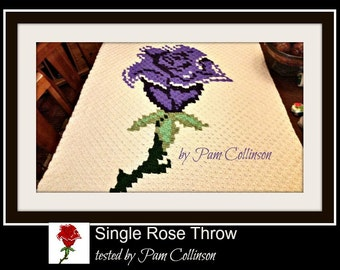 C2C Graph, Single Rose Throw, C2C Graph, & Written Word Chart, Rose Afghan, Rose C2C, Rose Graph