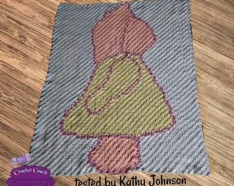 Sunbonnet Sue Blue Afghan, C2C Crochet Pattern, Written Row Counts, C2C Graphs, Corner to Corner, Crochet Pattern, C2C Graph