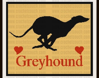 Greyhound Silhouette SC Graph, TSS Graph, Word Chart, Greyhound Silhouette Afghan, Blanket