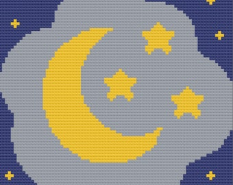 Moon and Stars Afghan, C2C Crochet Pattern, Written Row by Row, Color Counts, Instant Download, C2C Graph, C2C Pattern, Graphgan
