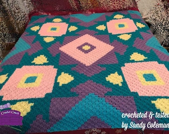 Bright Bob Afghan, C2C Crochet Pattern, Written Row Counts, C2C Graphs, Corner to Corner, Crochet Pattern, C2C Graph