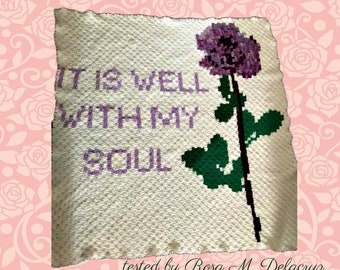 It Is Well With My Soul Afghan, C2C Crochet Pattern, Written Row Counts, C2C Graphs, Corner to Corner, Crochet Pattern, C2C Graph